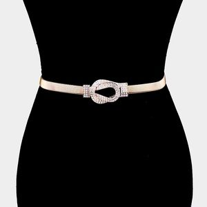 HP🎉 Elastic Icy Crystal Buckle Belt Accent Belt